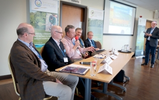 Sustainable Futures Conference Panel Tony Bell a Yorkshire farmer, Andrew Walker of Yorkshire Water, Richard Bramley a Yorkshire farmer, Clive Wood of Kings Crops and Mark Tucker of YARA UK, chaired by Dr Nigel Davies of Muntons